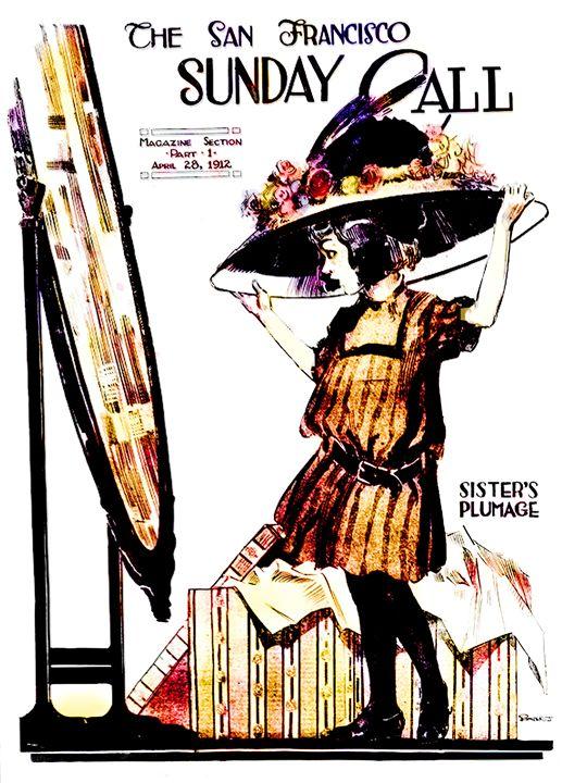 Sister's Plumage Vintage Poster - Sue Whitehead Arts