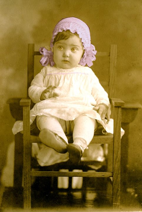 Cute Baby in Wooden Chair - Sue Whitehead Arts