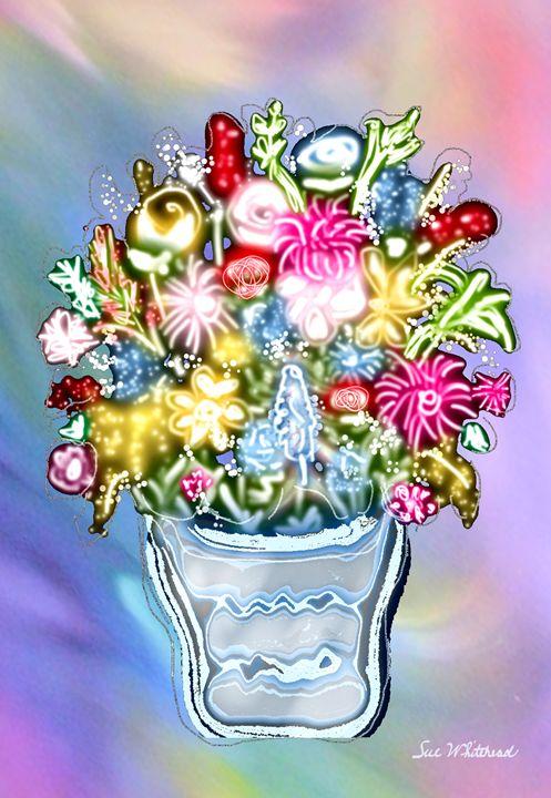 Luminescent Vase of Flowers - Sue Whitehead Arts