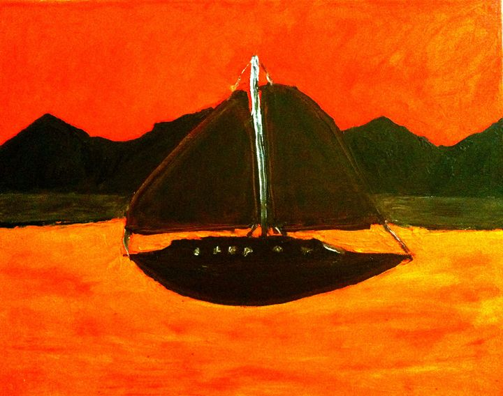sailing at sunset - Israel Torres Art