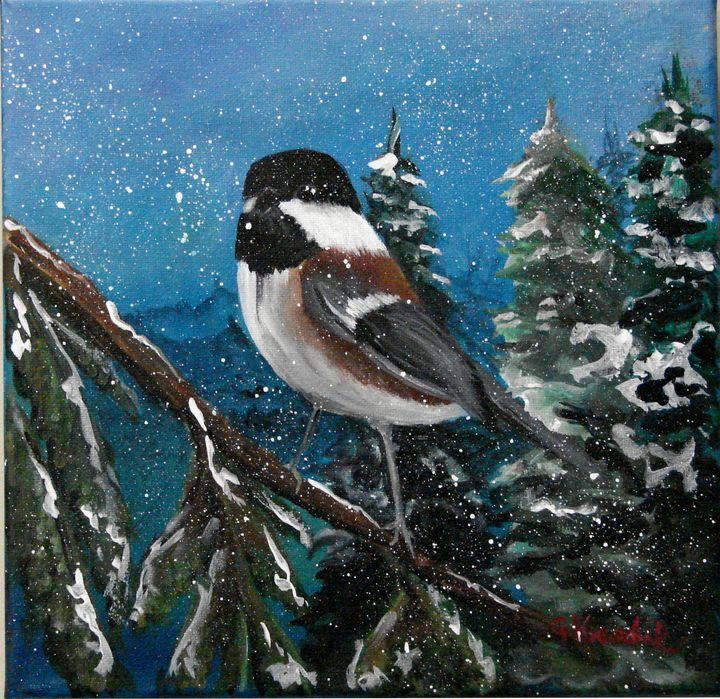 Chickadee in snow - CJ Kovalchuk