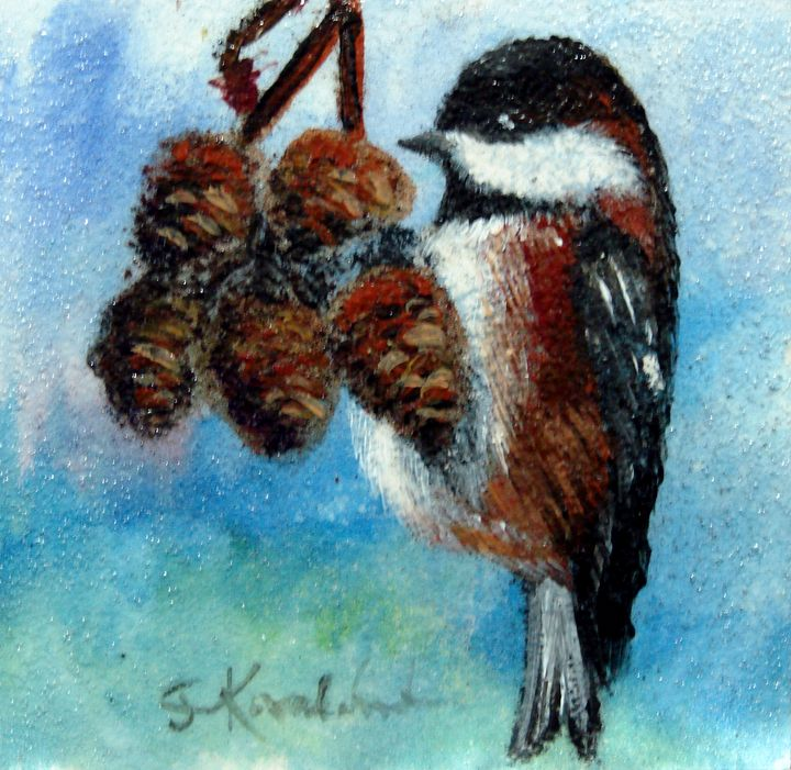 Chickadee on Alder Cones - CJ Kovalchuk