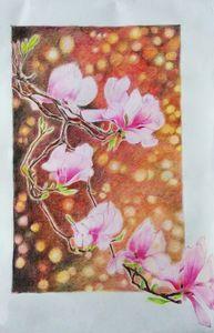 Japanese magnolia flowers