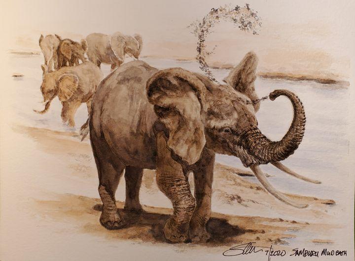 Elephant mudbath - Stewart Shang