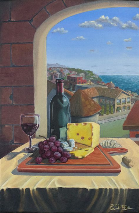 Wine & Cheese - Erick Ortega Art