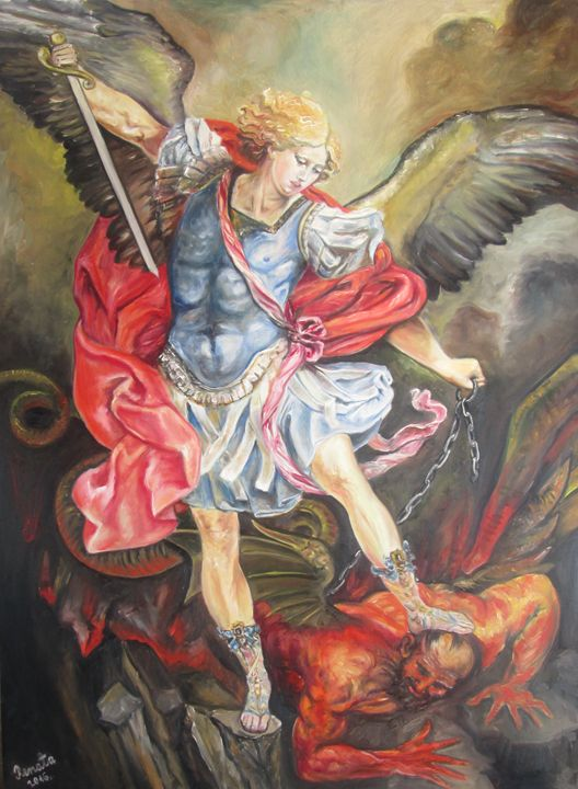 Archangel Michael trampling Satan - Angels Guardians