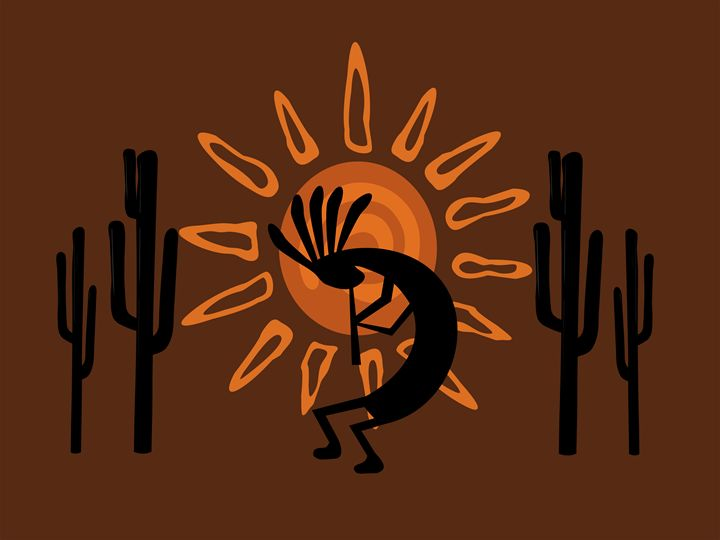 Kokopelli Rustic Brown Desert - Charmaine Paulson Art