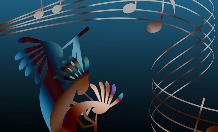 Kokopelli Gets Down Music - Charmaine Paulson Art
