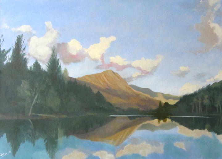 Autumn sun on evenings lake - JmcD Art