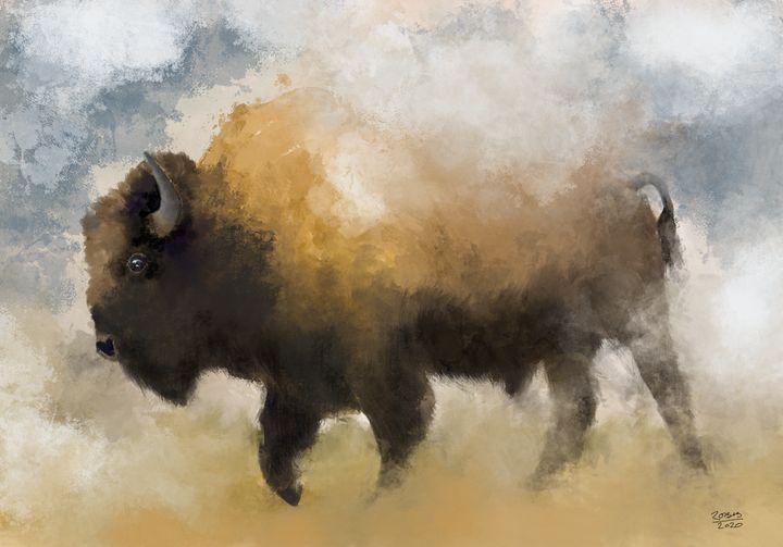American Western Bison Print - Robb Rokk