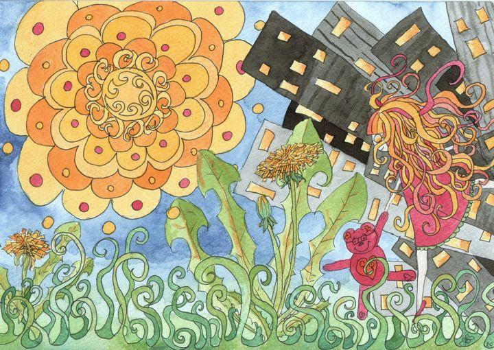 Ana and dandelion - ArtGalerieVicente