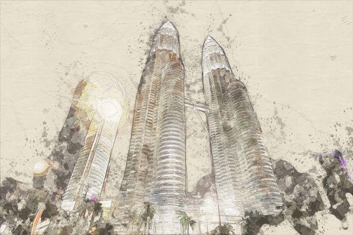 Twin Tower - Sketch Art