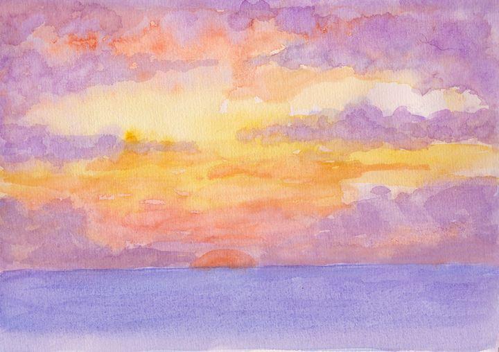 Sunset Experiment in Watercolour - Linda Ursin