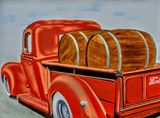 Ford Truck Oil Painting 1940 Barrels