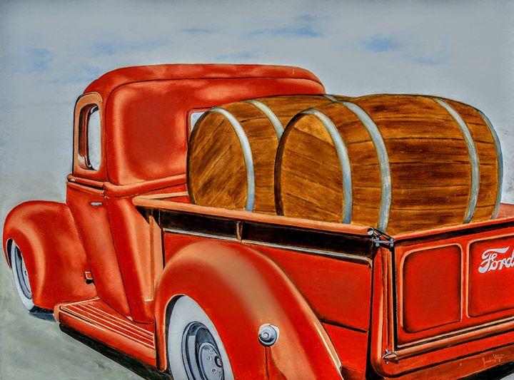 '40 Ford truck & barrels of Spirits - Sandra Stojack Fine Art