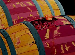 Vintage Red Wine Barrels