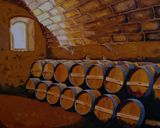 Barrels bourbon wine
