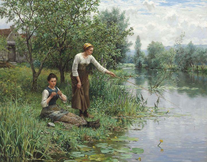 Two Women Fishing - paintings