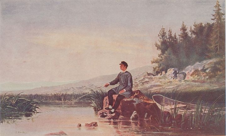 Johan Knutson Painting Fishing - paintings