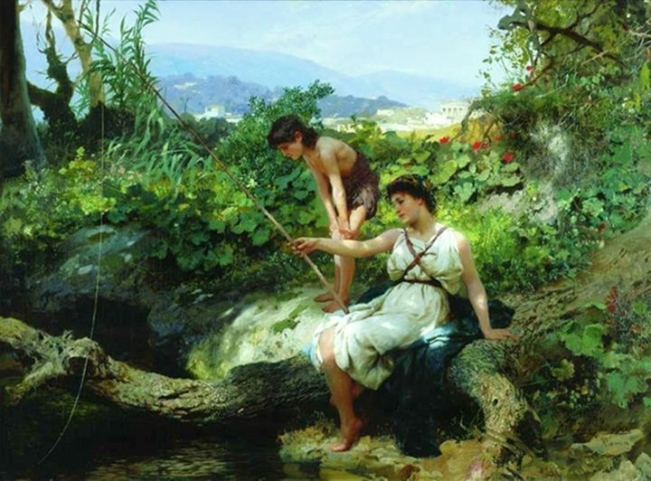 Fishing. A Scene from the Roman Life - paintings