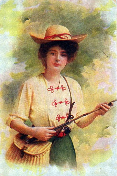 Woman Fishing painting from 1900 - paintings