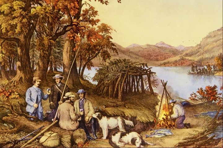 Fishing and Forest Scenes - paintings