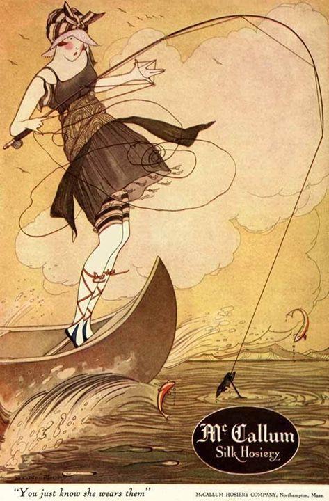 Girl fishing in silk hose - paintings