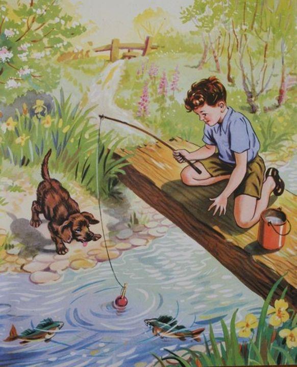 Little Fishing Patroller Folk Art Greeting Card w dog watching his best friend fishing on the dock