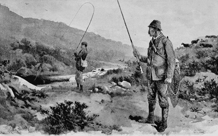 Two Men Fly Fishing. - paintings