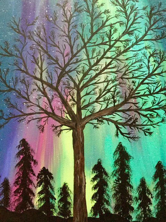 Radiant Night Sky - Up and Down Art by Kim Mlyniec