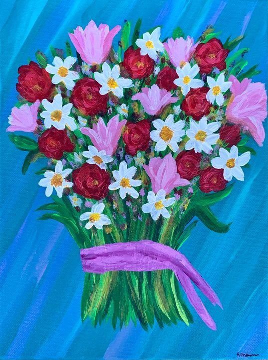 Birthday Bouquet - Up and Down Art by Kim Mlyniec