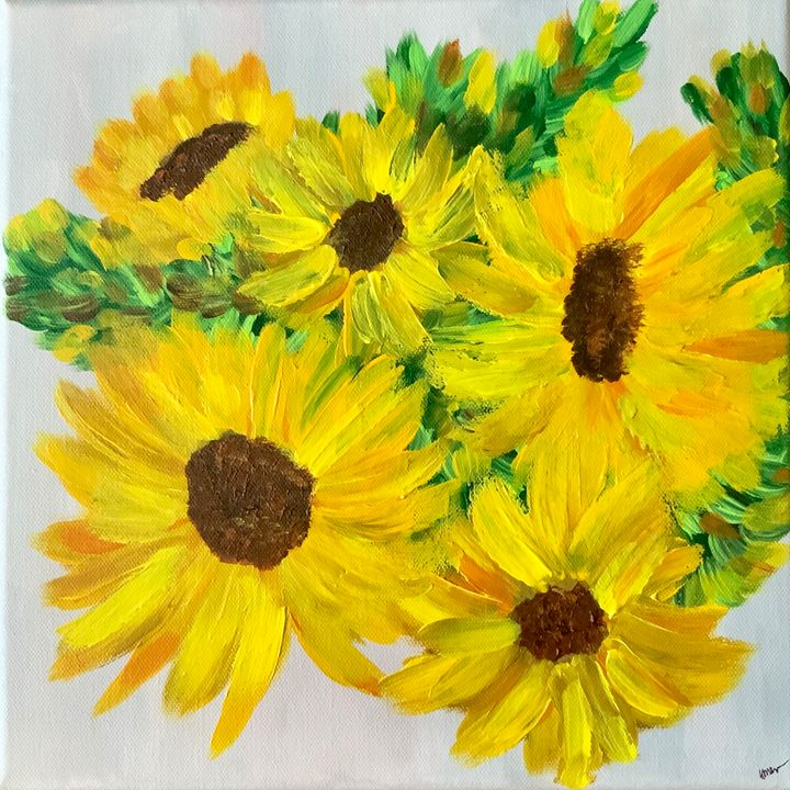 A New Day- Sunflowers - Up and Down Art by Kim Mlyniec