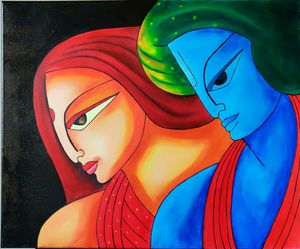 Abstract Radha Krishna oil painting