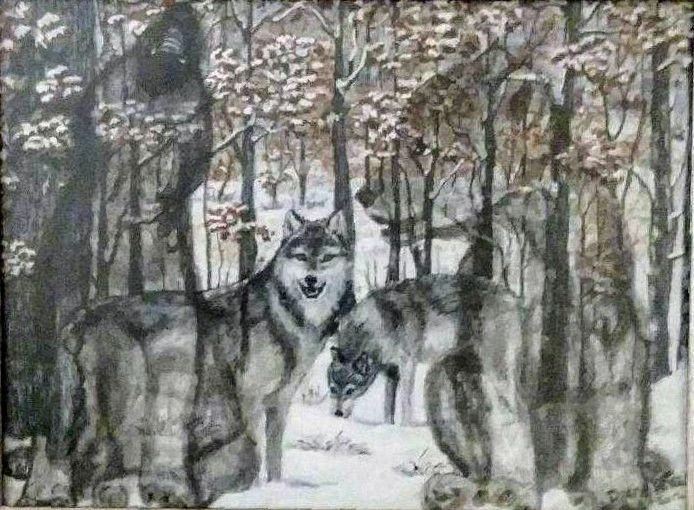 Guardian wolf spirit - Photorealistic Paintings by Diane Kincaid