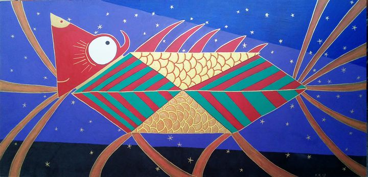 The story of the dragon and goldfish - Outsider art and stories gallery by oldbone