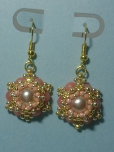 Rhodochrosite and glass pearls earri