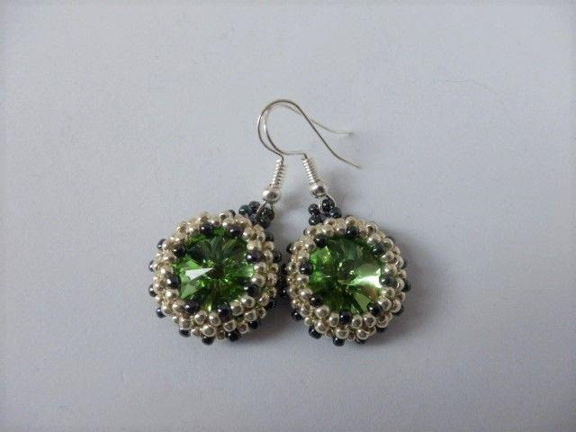 Green and silver earrings - EllaBijoux