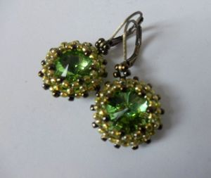Green and chartreuse earrings