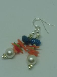 Faux pearls and dyed coral earrings