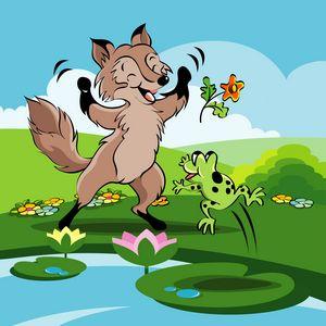 Fox and frog dancing