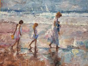 """""""At The Beach"""" by Jorn Fox-Framed"""