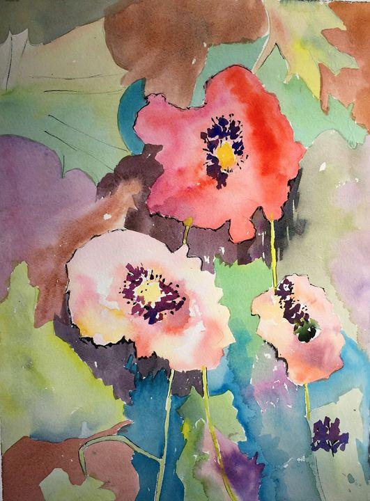Three Happy Poppies - Judee Brooks