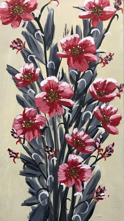 Tall and Red Flowers - Art By Glenda Eades