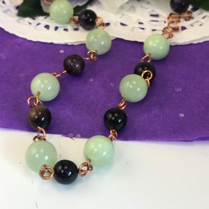 Green Onyx and Purple Tiger Eye Neck