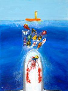 """Scarlett the Gray"" - Cross-Eyed Fish Art Creations LLC"