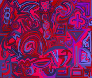 Blue, red symbols
