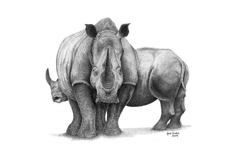Rhino Pointallism - Mike Oliver Pointallism