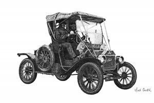MODEL T FORD POINTILLISM DRAWING