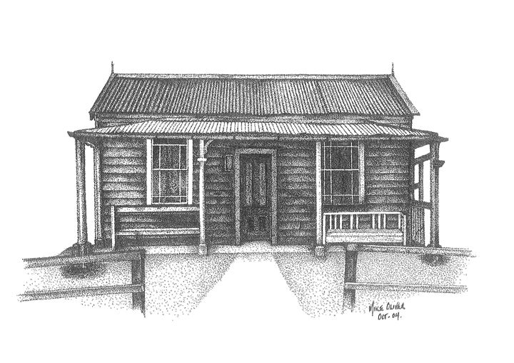 Old NZ House pointillism drawing - Mike Oliver Pointallism