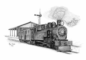 Steam Locomotive Pointillism Drawing